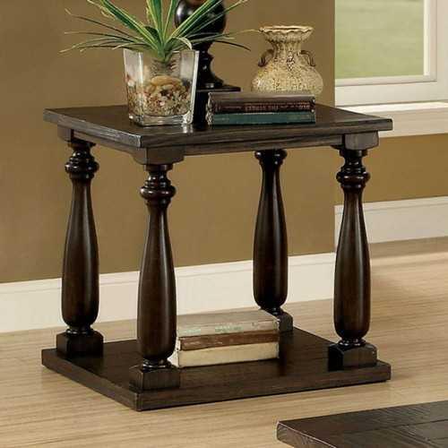 Wooden End Table with Open Shelf, Dark Walnut Brown