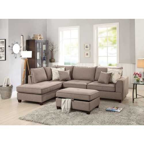 3 Piece Sectional With Storage Ottoman, Light Brown