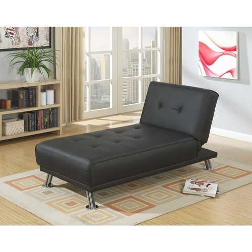 Faux Leather Adjustable Chaise with Chromed Leg, Black
