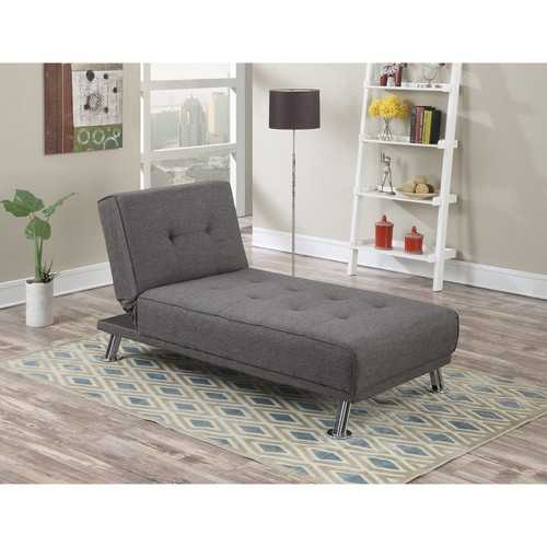 Adjustable Chaise with Chromed Leg, Gray