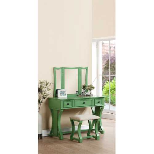 Vanity Set Featuring Stool And Mirror Green
