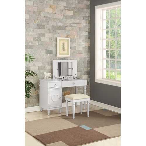 Vanity Set Featuring Stool And Mirror White