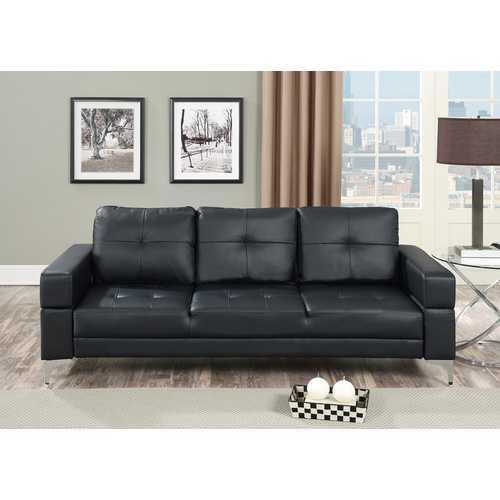 Adjustable Sofa With Movable Armrest In Black Polyurethane