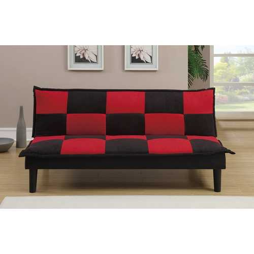 Microfiber Adjustable Sofa In Black And Red Checker