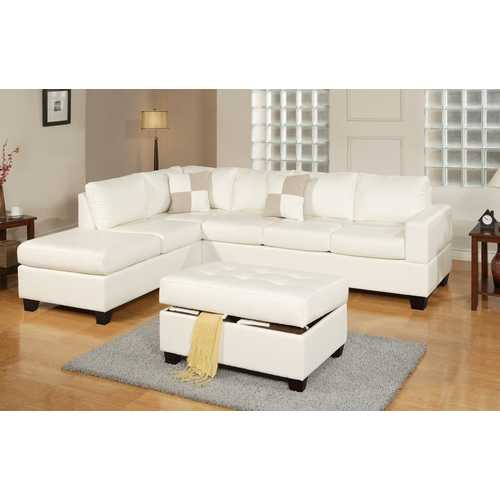Bonded Leather 3 Piece Sectional Sofa With Ottoman In White