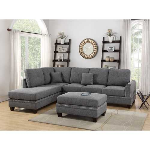 Polyfiber 2 Piece Sectional Set With Nail head Trims In Gray
