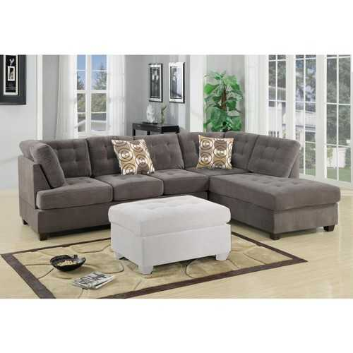 2-Piece Corduroy Sectional Sofa In waffle Suede Charcoal