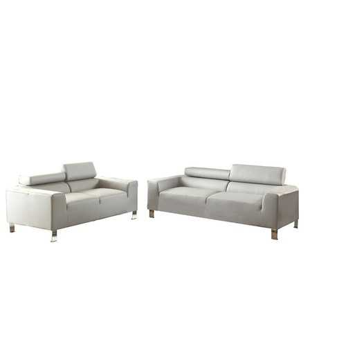 2-Piece Sofa Set In Bonded Leather, Gray Finish