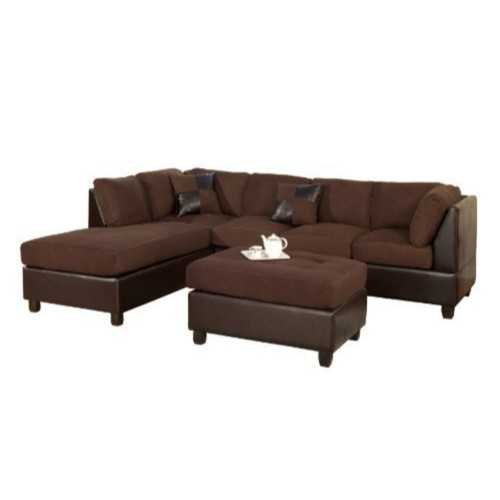 3 Piece Reversible Fabric And Faux Leather Sectional Sofa, Chocolate Finish