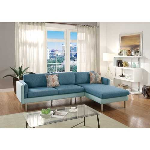 2 Piece Sectional Set With Accent Pillows In Blue