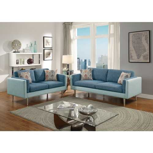 2 Piece Sofa Set With Accent Pillows In Blue