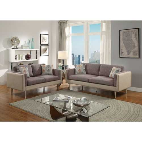 2 Piece Sofa Set With Accent Pillows In Brown