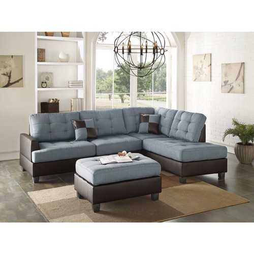 Polyfiber 3 Pieces Sectional Set In Blue and Brown