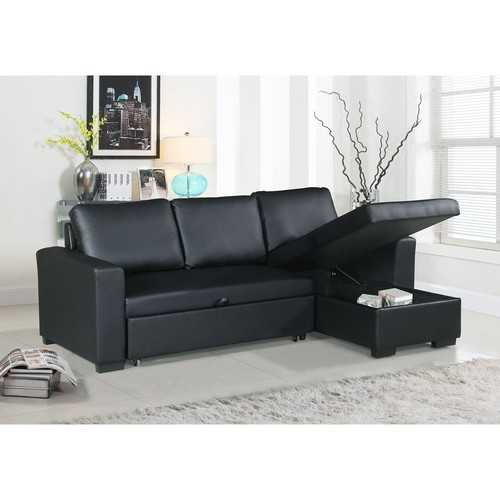 Faux Leather Convertible Sectional With Storage Black