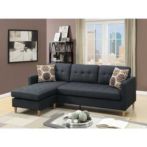 Polyfiber 2 Pieces Sectional With Pillows In Dark Gray