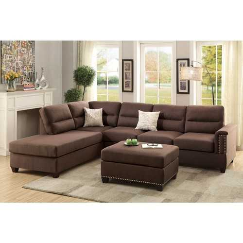 Polyfiber 3 Pieces Sectional Set In Choco Brown