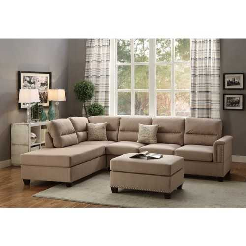 Polyfiber 3 Pieces Sectional Set In Sand Beige