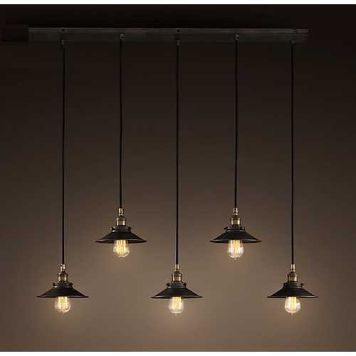 Hollie Adjustable Cord 5-light Edison Lamp with Bulbs