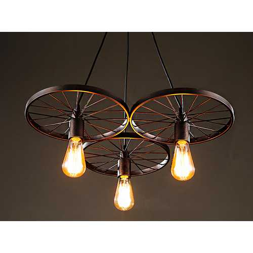 3-light Antique Bronze 20-inch Edison Chandelier