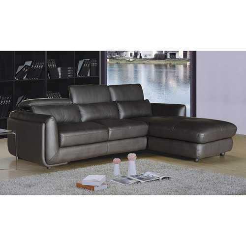Ron Collection Modern 2-Piece Upholstered Leather Living Room Set with Sofa, Chaise Sectional, and Adjustable Ratcheting Headrests, Brown
