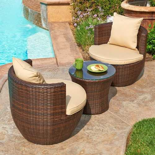 W Unlimited Perry Collection Outdoor Garden Dark Brown Wicker Conversational Furniture 3PC set w/ Beige Cushion