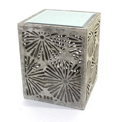 "23"" X 18"" X 18"" Gray Rustic Floral Wooden Mirror End Table/Tea Table"
