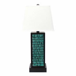 "31"" X 31"" X 8"" Black Contemporary Metal Table Lamp With  Teal Brick Pattern"