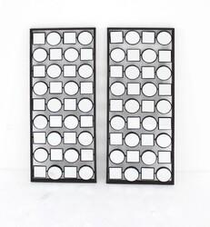 "1.25"" X 12"" X 30"" Black Contemporary Multi-Mirrored Metal Wall Plaque Set"