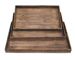 "19"" x 12"" Brown, Wood - Tray Set"