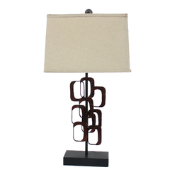 "31"" x 31"" x 8"" Bronze Traditional Fleur-De-Lis Table Lamp"