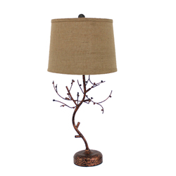 "31"" X 31"" X 9"" Bronze Vintage Metal Table Lamp With Elegant Tree Base"