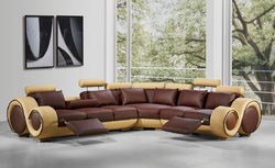 """31"""" Bonded Leather and Wood Sectional Sofa"""