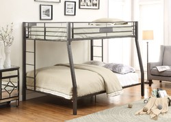 Category: Dropship Bath / Bedding, SKU #285321, Title: Black Metal Finish Twin over Full Bunk with Side Ladders