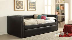 """88"""" X 43"""" X 34"""" Black Pu Twin Daybed And Trundle"""