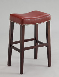 """20"""" X 15"""" X 30"""" 2pc Red And Espresso Bar Stool"""
