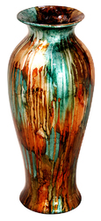 """21"""" Foiled & Lacquered Ceramic Vase - Ceramic, Lacquered In Turquoise, Copper And Bronze"""