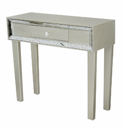 31' Champagne Wood Console Table with a Drawer and Framed with Mirror Accents