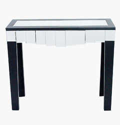 """31"""" Black Console Table with a Mirrored Glass Top and a Drawer"""