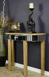 "31"" Silver Console Table with a Mirrored Glass Top and a Drawer"