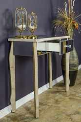 """31"""" White Washed Console Table with a Mirrored Glass Top and a Drawer"""
