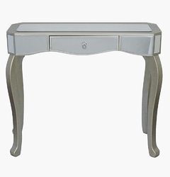 31' Champagne Classic Console Table with Mirrored Glass Inserts and a Drawer