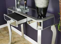 31' Silver Classic Console Table with Mirrored Glass Inserts and a Drawer
