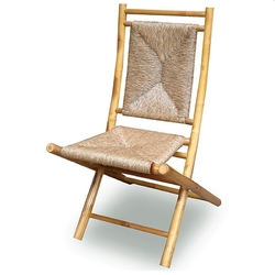 Set of 2 Natural Bamboo Folding Dining Chairs with Seagrass Triangle Weave