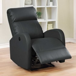 Black Modern Leather Infused Small Power Reading Recliner