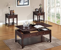 Wooden Coffee Table with Lift Top, Walnut Brown