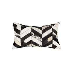 """12"""" x 20"""" x 5"""" Black And Natural - Pillow"""