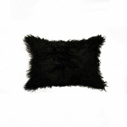 "12"" x 20"" x 5"" Black Sheepskin - Pillow"