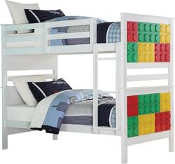 "80"" X 43"" X 65"" White & Multi-Color Twin Over Twin Playground Bunk Bed"