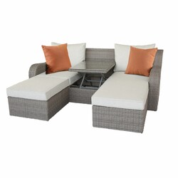 3 Piece Gray Wicker Patio Sectional And Ottoman Set