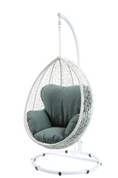 Green and White Hanging Pod Wicker Patio Swing Chair